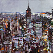 Картины и панно handmade. Livemaster - original item New York City - morning urban landscape painting. Handmade.