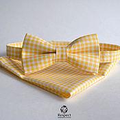 Аксессуары handmade. Livemaster - original item Butterfly shawl Provence yellow plaid/ tie butterfly handkerchief Pasha. Handmade.