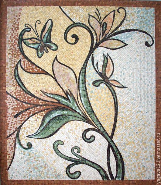 Картины цветов ручной работы. Ярмарка Мастеров - ручная работа. Купить бабочки. Handmade. Мраморная мозаика, мозаичное панно