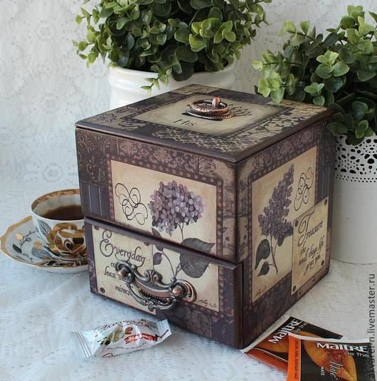 Корзины, коробы ручной работы. Ярмарка Мастеров - ручная работа. Купить Короб для чая и сладостей Шоколадное настроение. Handmade. Коричневый