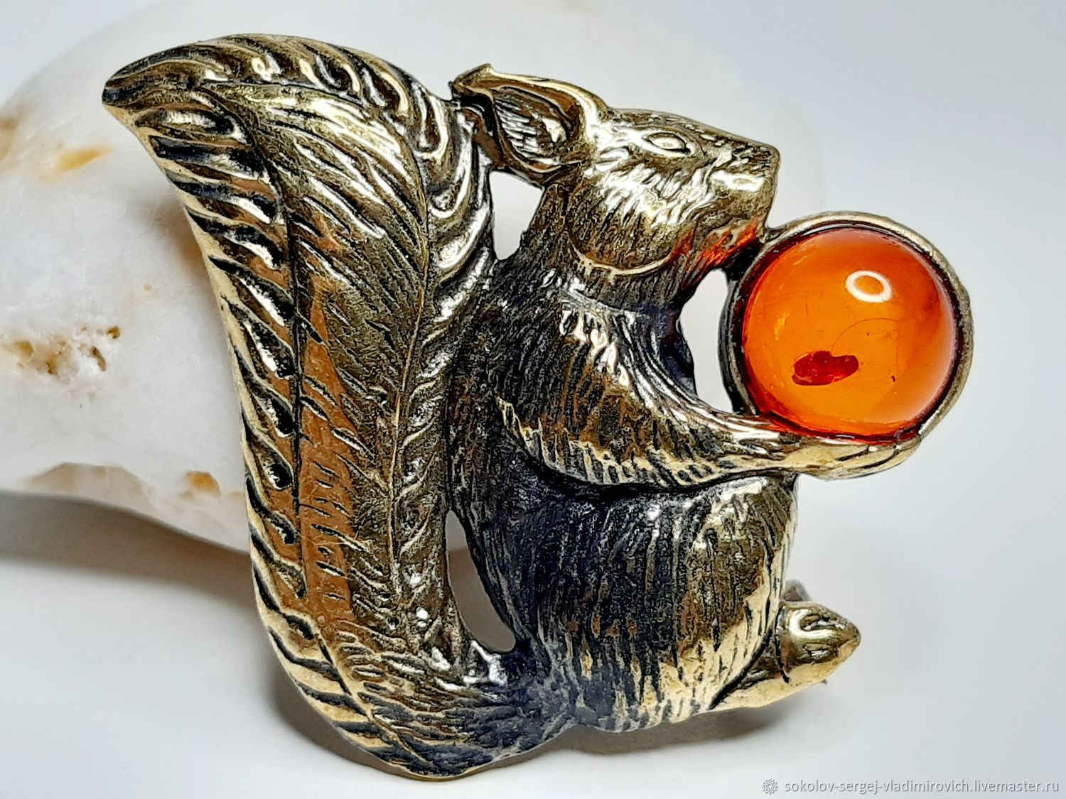 Squirrel brooch with nuts, Brooches, Moscow,  Фото №1