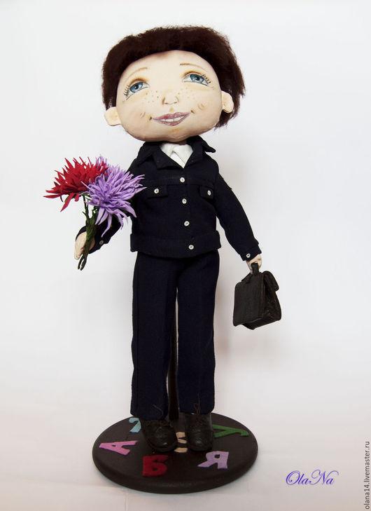 Коллекционные куклы ручной работы. Ярмарка Мастеров - ручная работа. Купить Первоклашка. Handmade. Комбинированный, интерьерная кукла, грунтованный текстиль