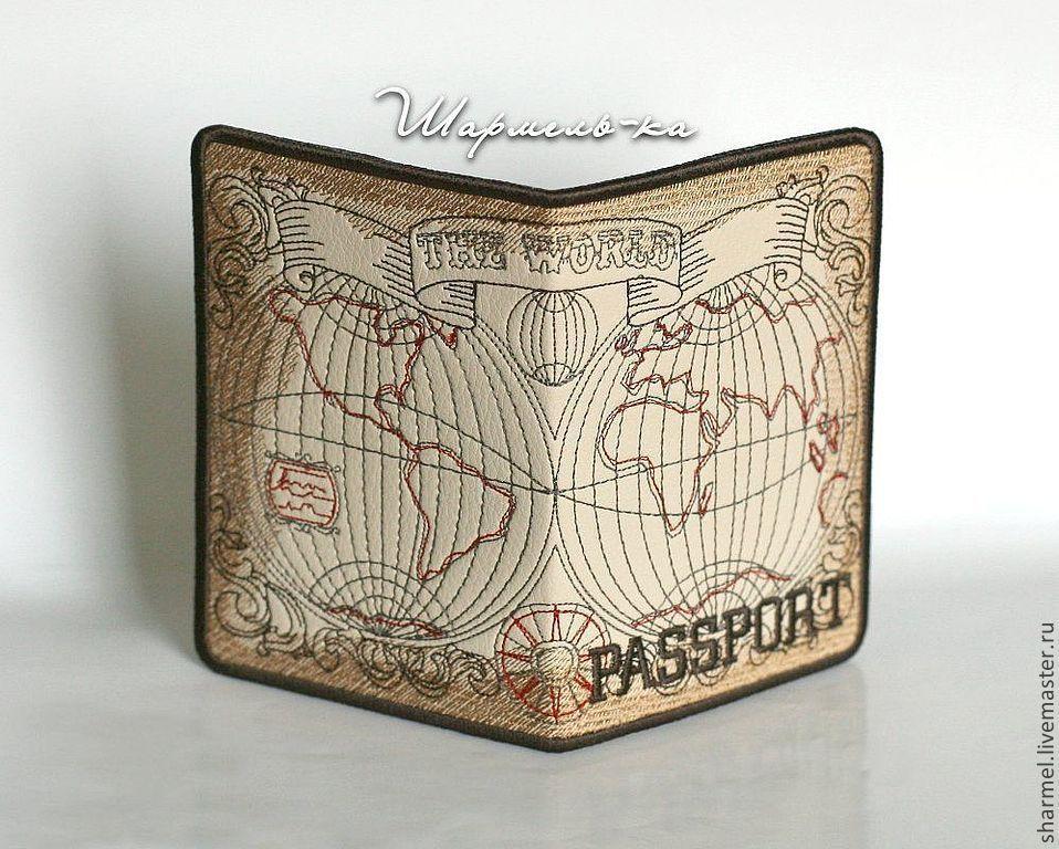 Вышитая обложка на паспорт `Карта мира. Эпоха открытий`. Полезные вещицы от Шармель-ки.