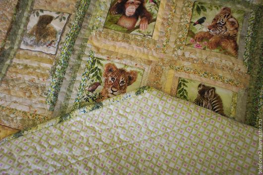 Пледы и одеяла ручной работы. Ярмарка Мастеров - ручная работа. Купить Детское одеяло со зверятами. Handmade. Салатовый