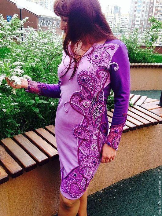 """Платья ручной работы. Ярмарка Мастеров - ручная работа. Купить Вставка на платье """"Сиреневые грезы"""". Handmade. Пейсли, коктельное платье"""
