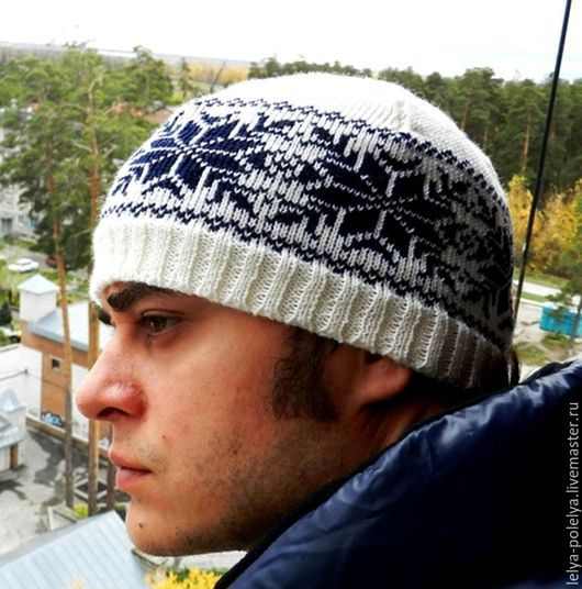 """Одежда ручной работы. Ярмарка Мастеров - ручная работа. Купить Вязаная шапка со славянской символикой """"Алатырь"""". Handmade. Синий"""