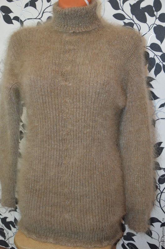 Кофты и свитера ручной работы. Ярмарка Мастеров - ручная работа. Купить Свитер пуховый вязанный коричневый. Handmade. Коричневый