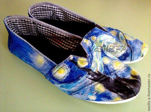 Обувь ручной работы. Ярмарка Мастеров - ручная работа. Купить Кеды с росписью, обувь с рисунком. Handmade. Обувь, роспись по ткани