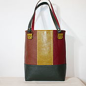 "Сумки и аксессуары handmade. Livemaster - original item Leather colourful tote  bag ""Red green and brown squares"". Handmade."