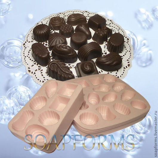 Силиконовая форма для мыла `Конфеты ассорти 1-15` (на фото работа выполненная в мыле)