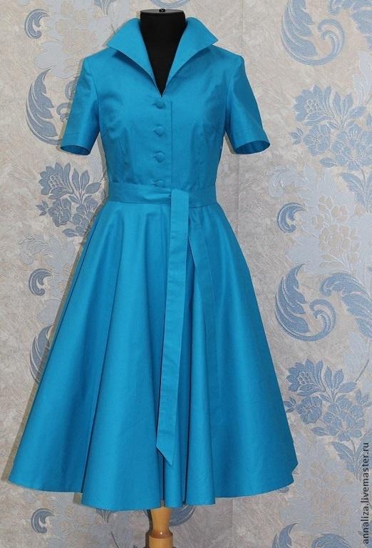"""Платья ручной работы. Ярмарка Мастеров - ручная работа. Купить Ретро платье в стиле 50-х """"ЭКО"""". Handmade. Синий"""