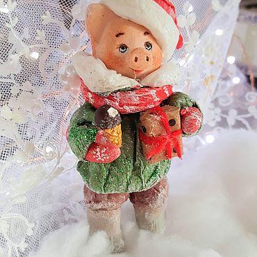"""Куклы и игрушки ручной работы. Ярмарка Мастеров - ручная работа Ватная игрушка на елку """" Хрюшина радость"""". Handmade."""