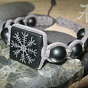 Mascots handmade. Livemaster - original item Bracelet EGISHYANTS. Engraving on shungite, weaving suede cord. Handmade.