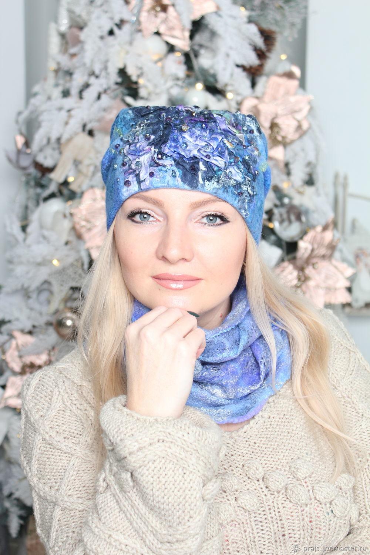 """Авторская валяная шапка """"Аквамарин"""", Шапки, Новосибирск,  Фото №1"""