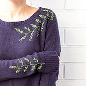 Одежда ручной работы. Ярмарка Мастеров - ручная работа Кашемировый джемпер с вышивкой Слива. Handmade.