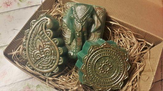"""Мыло ручной работы. Ярмарка Мастеров - ручная работа. Купить Набор """"Тайны Индии""""// сувенирное мыло с зелёной глиной. Handmade."""