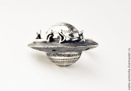 """Кольца ручной работы. Ярмарка Мастеров - ручная работа. Купить кольцо из серебра """"Двое на Сатурне"""". Handmade. Авторское кольцо, стимпанк"""