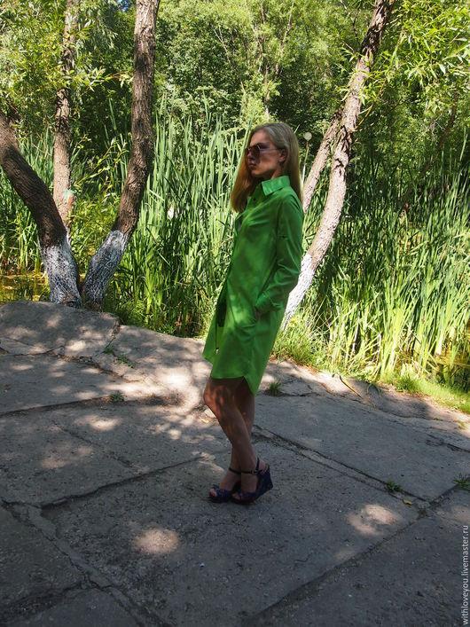 Платья ручной работы. Ярмарка Мастеров - ручная работа. Купить Платье-рубашка. Handmade. Зеленый, длинная рубашка, рубашка с поясом