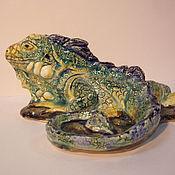 Статуэтки ручной работы. Ярмарка Мастеров - ручная работа зеленая игуана. Handmade.