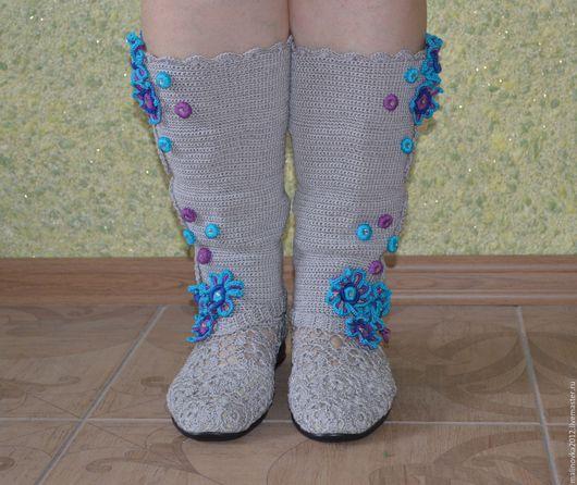"""Обувь ручной работы. Ярмарка Мастеров - ручная работа. Купить Сапожки вязаные""""голубика"""". Handmade. Серый, кожа натуральная"""