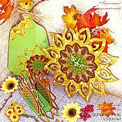 """Часы классические ручной работы. Ярмарка Мастеров - ручная работа """"Под солнцем"""" кухонный набор салфетница доска часы. Handmade."""