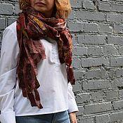 Аксессуары handmade. Livemaster - original item Chocolate felted scarf stole on natural silk handmade. Handmade.