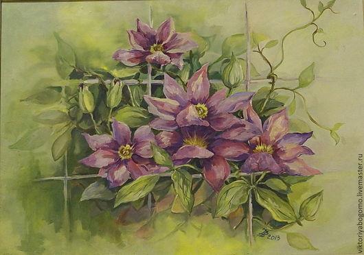 Картины цветов ручной работы. Ярмарка Мастеров - ручная работа. Купить Клематисы. Handmade. Сиреневый, цветы, натюрморт с цветами