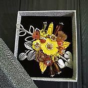 Украшения handmade. Livemaster - original item Brooch-a bouquet on a knitted cardigan or coat. Handmade.