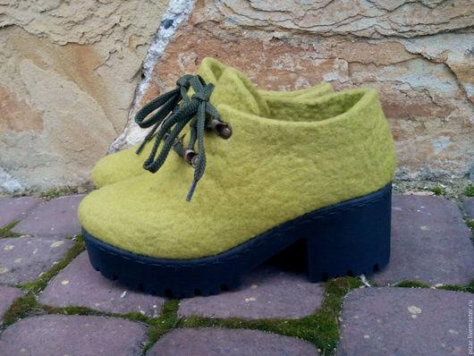 """Обувь ручной работы. Ярмарка Мастеров - ручная работа. Купить Ботильоны из войлока """"Оливки"""". Handmade. Оливковый, ботиночки, ботильоны, обувь"""