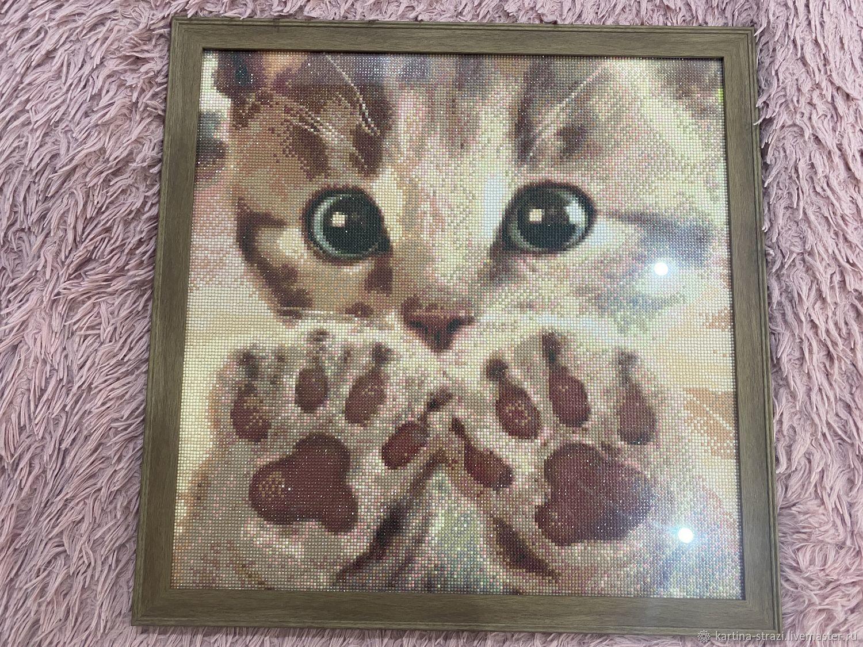 """Картина стразами """"Котёнок с лапками на стекле"""" 55 х 55 см, Картины, Москва,  Фото №1"""