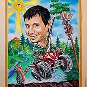 """Картины и панно ручной работы. Ярмарка Мастеров - ручная работа Шарж """"Отдых в лесу"""". Handmade."""