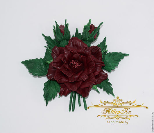 Броши ручной работы. Ярмарка Мастеров - ручная работа. Купить Крупная брошь из кожи Украшение из кожи Бордовая роза Цветы из кожи. Handmade.
