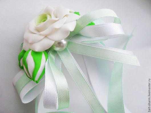 """Браслеты ручной работы. Ярмарка Мастеров - ручная работа. Купить браслет для невесты """"Белая роза"""". Handmade. Мятный, полимерная глина"""