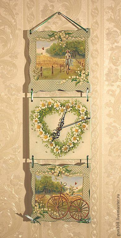 """Часы для дома ручной работы. Ярмарка Мастеров - ручная работа. Купить Часы-панно настенные """"Летняя прогулка"""". Handmade. Мятный"""