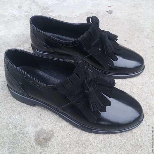 Обувь ручной работы. Ярмарка Мастеров - ручная работа. Купить Брогированные лоферы AnnaChaqrua. Handmade. Черный, женская обувь
