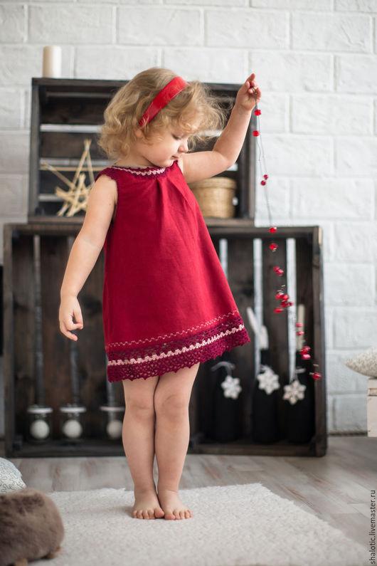 Платье для девочки, льняное платье для девочки, сарафан льняной, платье с кружевом, платье ручной работы, автор Юлия Льняная сказка