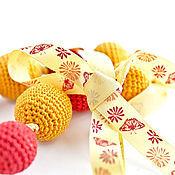 Украшения ручной работы. Ярмарка Мастеров - ручная работа Вязаные бусы Оранжевое красное желтое. Handmade.
