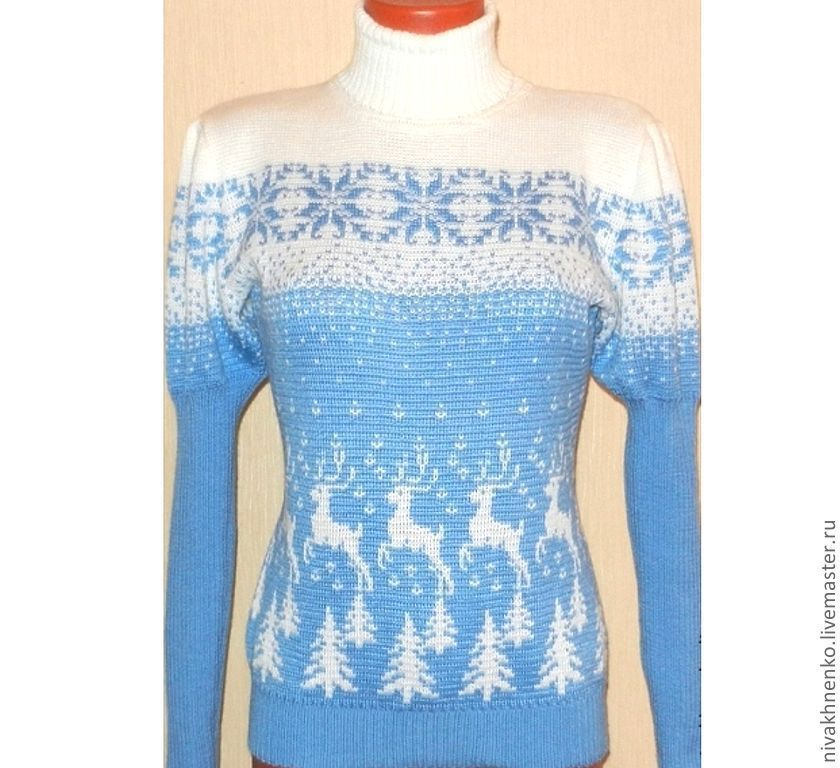Women's sweater with reindeer, lantern sleeve, Sweaters, Moscow,  Фото №1