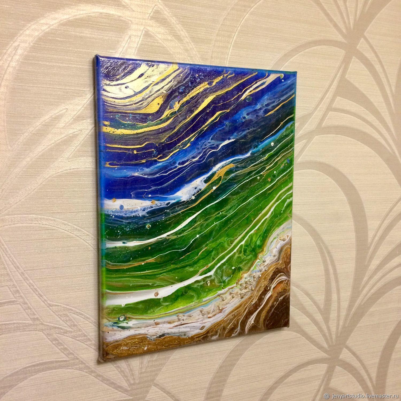 Интерьерная картина «Океан» абстракция синий, голубой цвет