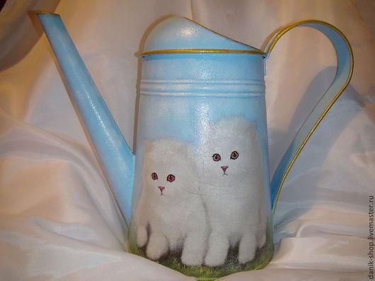 """Лейки ручной работы. Ярмарка Мастеров - ручная работа. Купить Лейка """"Котята"""". Handmade. Голубой, садовый декор, садовые цветы"""