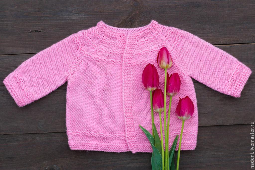 Вязание розовая кофточка спицами для девочки 34