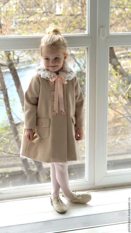 Одежда для девочек, ручной работы. Ярмарка Мастеров - ручная работа. Купить Пальто Камилла. Handmade. Бежевый, меховой воротник