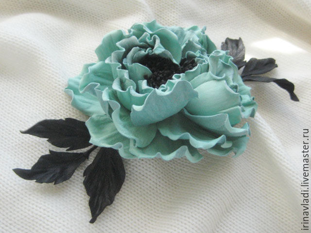 jewelry leather flowers leather rose turquoise brooch hair clip accessories turquoise rose mint rose brooch barrette in her hair ornament in a hairstyle leather mint