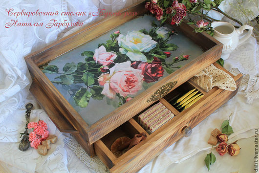 """Кухня ручной работы. Ярмарка Мастеров - ручная работа. Купить Сервировочный столик """"Букет роз"""". Handmade. Поднос для кухни, акция"""