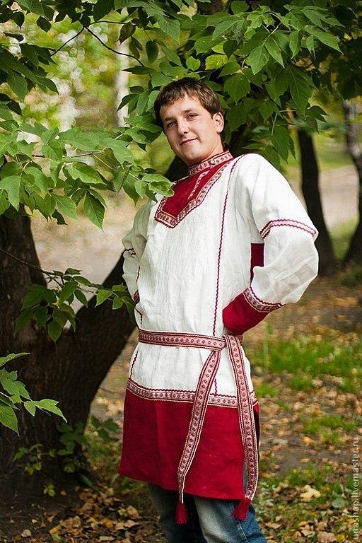 Одежда ручной работы. Ярмарка Мастеров - ручная работа. Купить рубаха мужская русская. Handmade. Белый, рубаха, лён