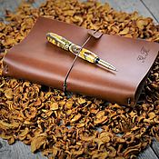 Канцелярские товары handmade. Livemaster - original item A5 Italian leather notebook with personalization with replaceable notebooks. Handmade.