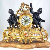 Винтаж ручной работы. Ярмарка Мастеров - ручная работа Каминные часы, фарфор, бронза, мрамор. Франция, стиль Людовика XV. Handmade.