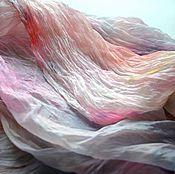 Аксессуары ручной работы. Ярмарка Мастеров - ручная работа женский шелковый шарф палантин розово персиковый с серым бежевым. Handmade.