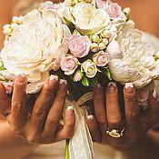 Свадебный салон ручной работы. Ярмарка Мастеров - ручная работа Букет невесты с пионами и розами из полимерной глины. Handmade.