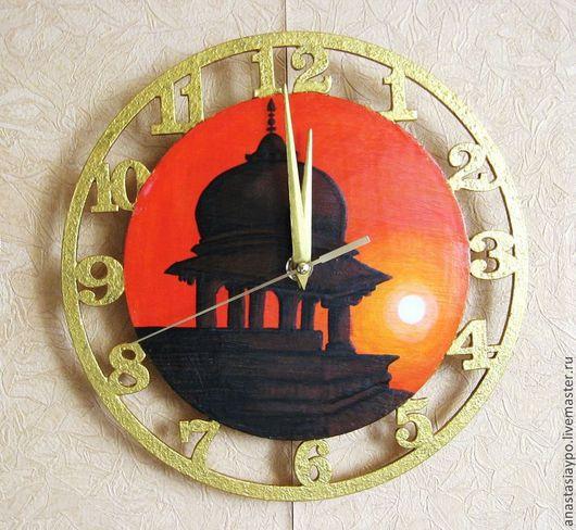 Часы для дома ручной работы. Ярмарка Мастеров - ручная работа. Купить Часы Индийский рассвет, ручная роспись. Handmade. Оранжевый